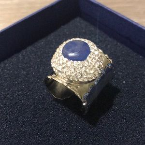 Jewelry - 🎉SALE- Hammered Metal , Crystal Ring NWOT